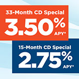 33-Month CD Special at 3.50% APY* or 15-Month CD Special at 2.75 APY*